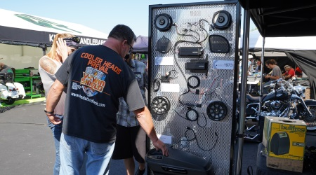Bikers had an opportunity to check out  Kicker's latest gear for their rides.