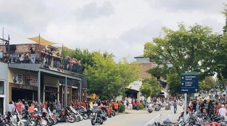 Bikes lined the streets in Fayetteville during the event.