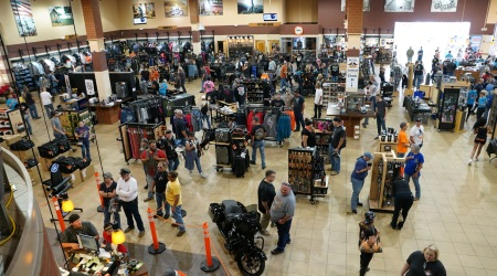 Inside, bikers checked out booths with apparel and more.